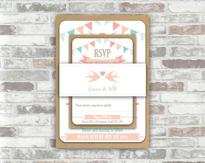 Print you own personalised printable WEDDING INVITATION BUNDLE - Personalized digital files, bunting, swallows, pale pink blue pastel rustic