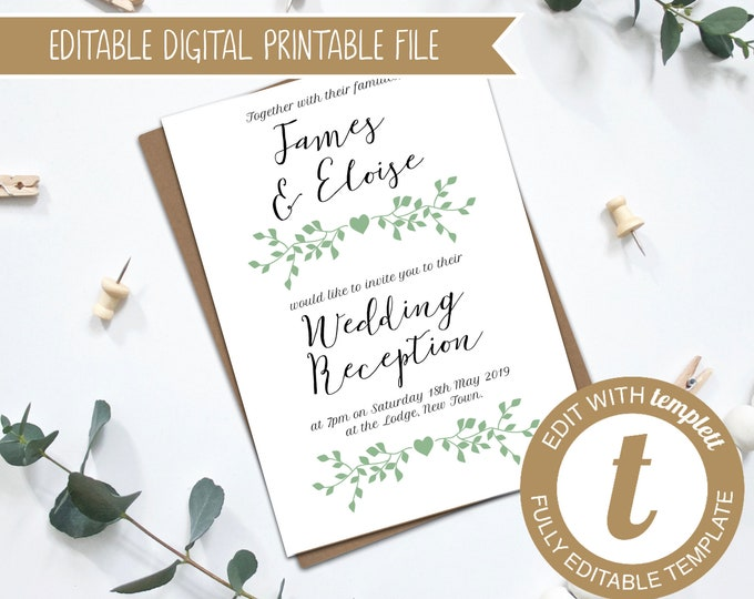 Editable Greenery Printable Wedding Reception Invitation Template for Template