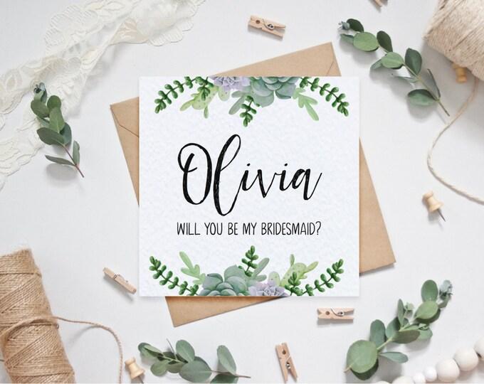 Personalised Bridesmaid Card - Succulents