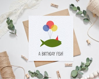 A Birthday Fish Birthday Card for the Fishing Enthusiast / Fisherman / Angler - Quirky Card for Grandad/Grandma/Dad/Father/Mother/Mum