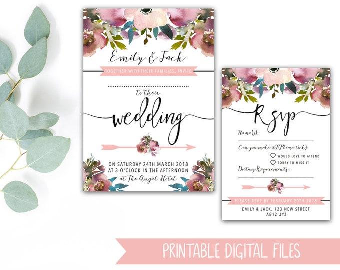 PRINTABLE Wedding Invitation Bundle - Blush & Rose Pink Watercolour Florals