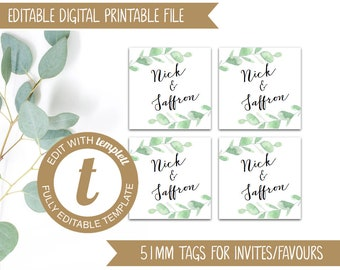 Editable Eucalyptus Printable Wedding Invitation Or Favour Tags