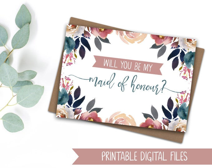INSTANT DOWNLOAD Printable 'Will you be my maid of honour?' Card - UK spelling