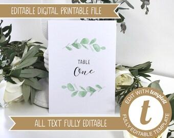 Editable Eucalyptus Printable Wedding Table Number / Names Cards
