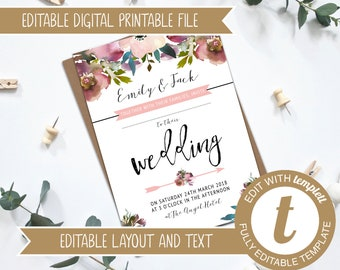 INSTANT DOWNLOAD - Editable Printable Blush and Rose Pink Floral Wedding Invitation - DIY Template - Edit online at Templett - 5x7