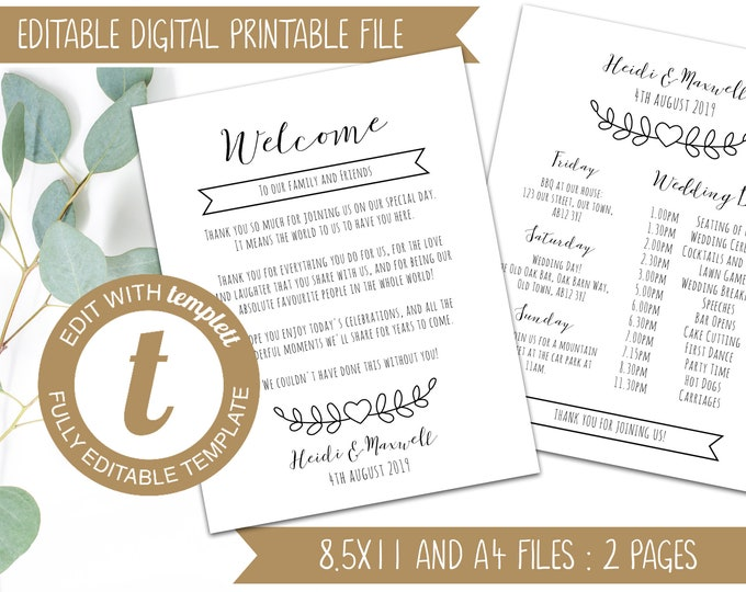 INSTANT DOWNLOAD - Printable Editable Wedding Thank You and Itinerary - Wedding Welcome Timeline - Templett Order of the Day Weekend Details