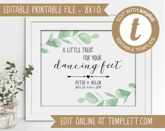 INSTANT DOWNLOAD - Editable Printable Wedding 'Dancing Feet' Sign