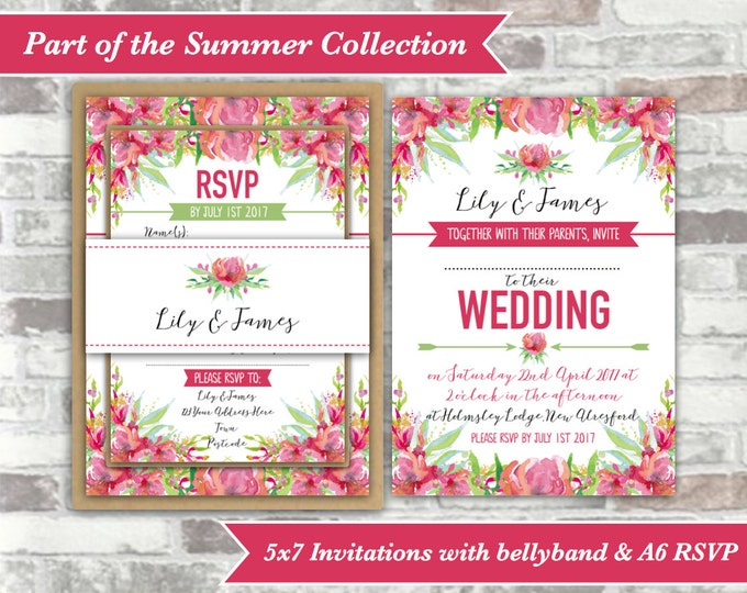 PRINTABLE Digital Files - Summer Collection - Personalised Pink Watercolour Floral Wedding Invitation Bundle - Print Your Own DIY Invites