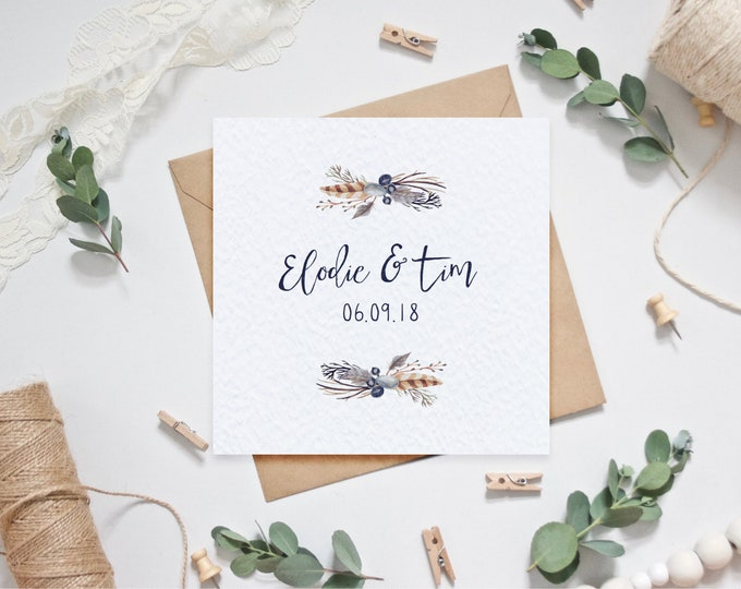 Personalised Wedding Card with Couple's Names and Date of Wedding - Rustic Natural Feathers - Personalized Wedding Card / Anniversary Card