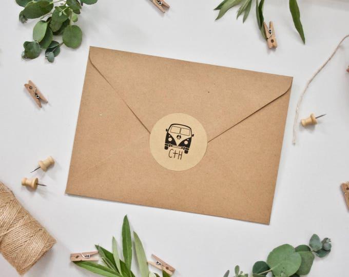 CUSTOM Stickers - Personalised Wedding Envelope Camper Van Stickers  51mm diameter Matt Kraft Envelope Seals Wedding Favours Favors Initials