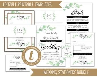 Wedding Stationery Bundle Templates - Eucalyptus Version 1 - Templett