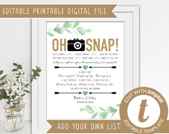 INSTANT DOWNLOAD - Editable Printable Wedding I Spy Game 'Oh Snap'
