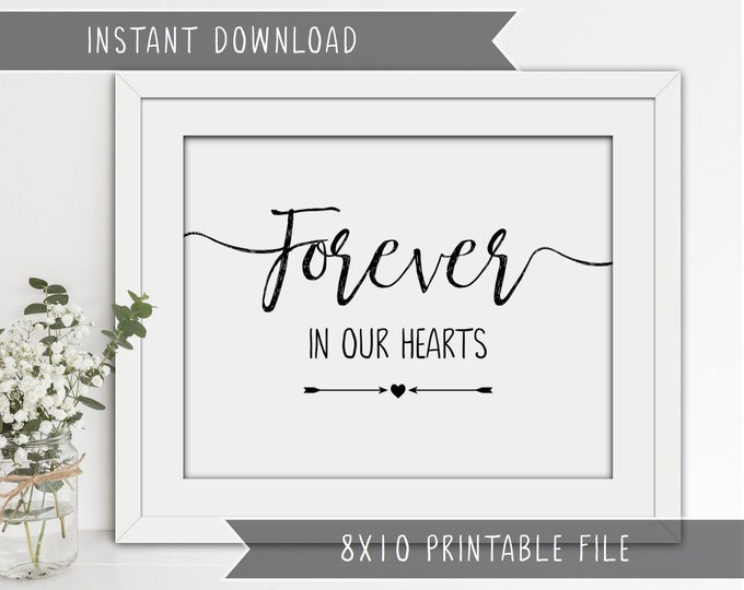 INSTANT DOWNLOAD -  'Forever in our hearts' wedding sign