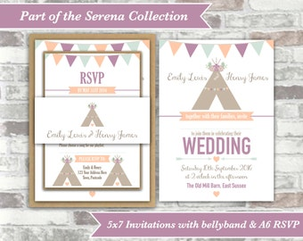 PRINTABLE Digital Files - Serena Collection - Personalised Tipi Wedding Invitation Bundle Print Your Own DIY - Peach Purple Lavender Lilac