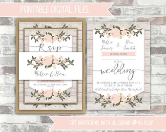 PRINTABLE Digital Files - Rustic Floral Wedding Invitation Bundle - Wooden Background Pink Flowers - Calligraphy Style Invites