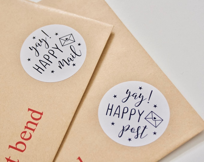 Yay! Happy Mail/Happy Post Stickers for Packaging