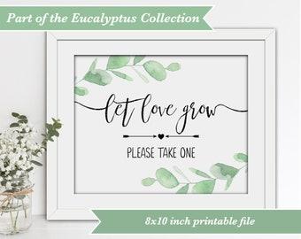 Wedding Sign - Let Love Grow - Eucalyptus