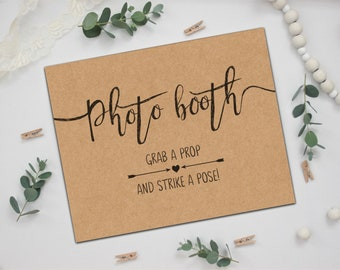 PRINTED Rustic Wedding Photo Booth Sign