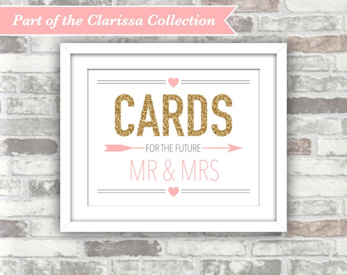 INSTANT DOWNLOAD - CLARISSA Collection - Printable Cards for the Future Mr & Mrs Sign Wedding Bridal Shower 8x10 Digital Gold Blush Pink