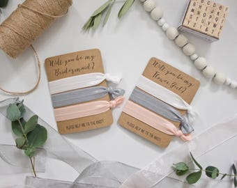 Will You be My Bridesmaid/Flower Girl? - Set of 3 Hair Ties - White, Grey, Pink-Peach Blush - Wedding Favours Bridesmaid Gift Proposal