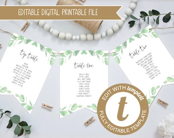 Editable Eucalyptus Printable Wedding Table Plan Bunting - Seating Plan - Version 3