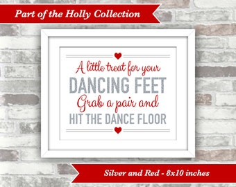 INSTANT DOWNLOAD - Printable Wedding Flip Flops Sign - Dancing Feet - 8x10 Digital Files - Holly Collection Silver Glitter Red - Signage