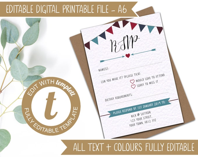 Editable Printable Wedding RSVP Template to match the Road Bikes and Mountain Bikes Invitations - A6 RSVP