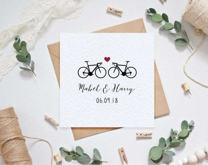 Personalised Wedding Card with Couple's Names and Date of Wedding - Road Bikes Bicycles - Personalized Cycling / Cyclist Wedding Card
