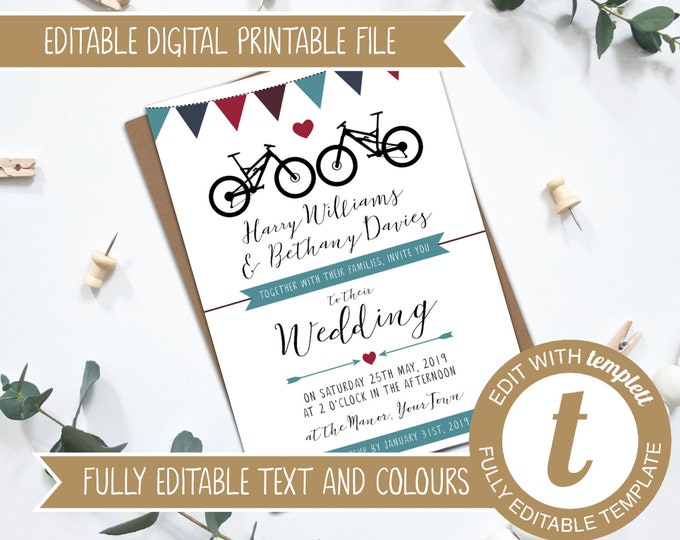 INSTANT DOWNLOAD - Fully Editable Printable Mountain Bikes DIY Wedding Invitation
