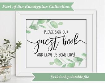 Wedding Guest Book Sign - Eucalyptus