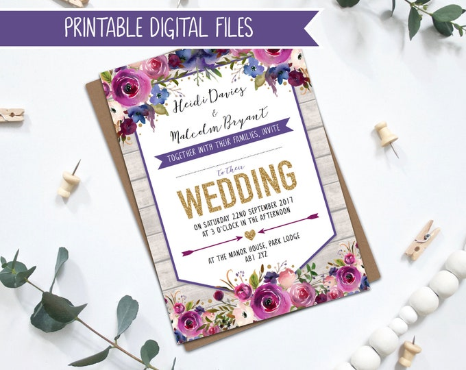 Printable Wedding Invitations - Purple Watercolour Florals with Gold Glitter