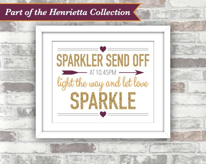 PRINTABLE Digital File - Henrietta Collection - Wedding Sparkler Send Off Sign - Personalised Time - 8x10 Gold Plum Burnt Orange Fall Autumn
