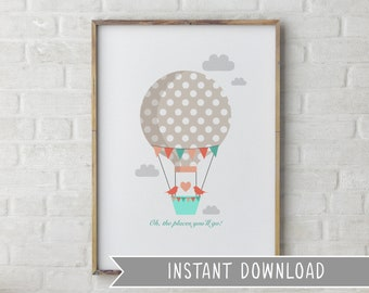 INSTANT DOWNLOAD Oh the places you'll go Digital Nursery Art Printable Print