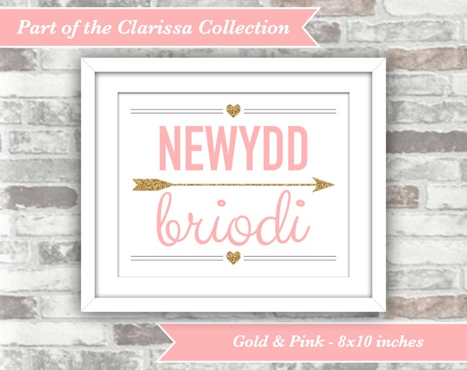 INSTANT DOWNLOAD - Clarissa Collection - Newydd Briodi Welsh Just Married Printable Sign - 8x10 Digital File - Gold Pink - 8x10 - Cymraeg