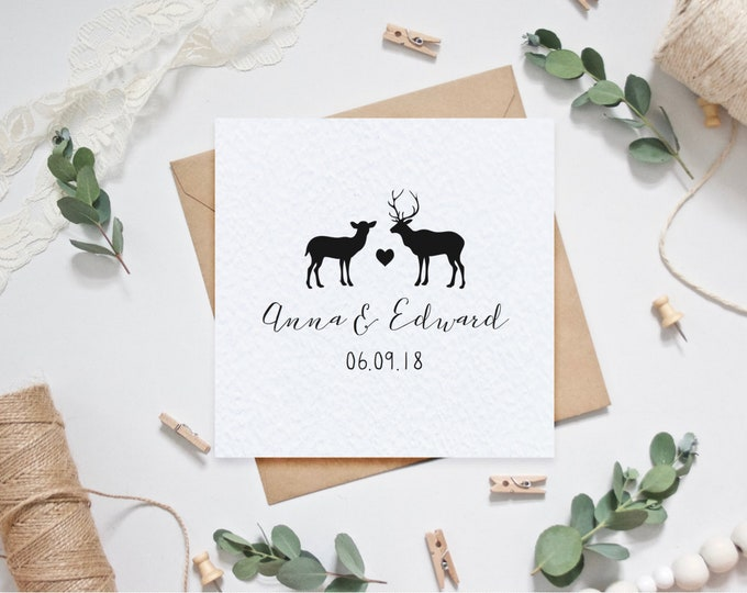 Personalised Wedding Card with Couple's Names and Date of Wedding - Stag Doe Woodland Wedding - Personalized Wedding Gift - Winter Wedding