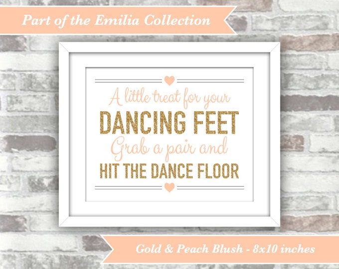 INSTANT DOWNLOAD - Emilia Collection - Printable Wedding Flip Flops Sign A Little Treat Dancing Feet - 8x10 Digital File - Gold Peach-Blush