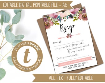 Editable Printable Wedding RSVP Template to match the Blush and Rose Pink Invitation Template