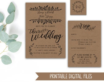 Wedding Invitation - PRINTABLE Stationery Bundle - Kraft or White - Leaf / Leafy Foliage Design - Monochrome Invitations + Tag - Invites