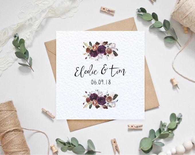 Personalised Fall Wedding Card with Couple's Names and Date of Wedding