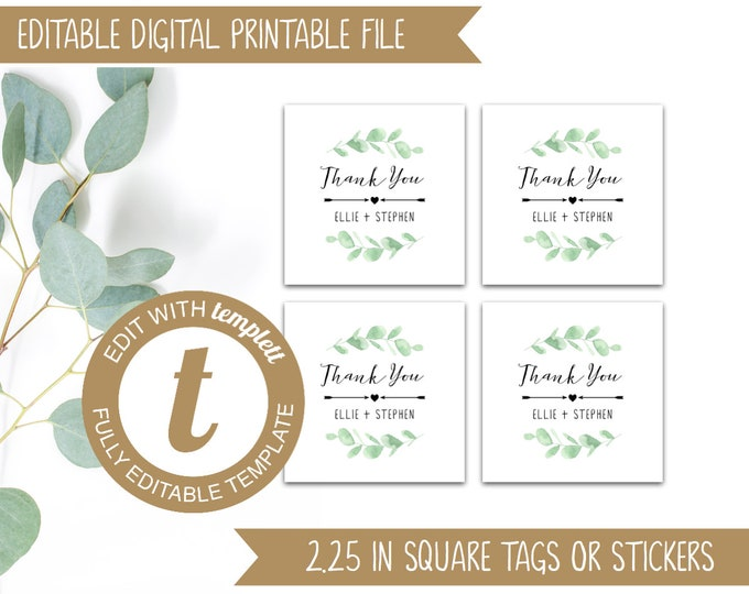 EDITABLE Eucalyptus Printable Wedding Thank You Tags - Wedding Stickers / Labels