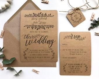 Rustic Wedding Invitation Bundle - Leafy Foliage Design