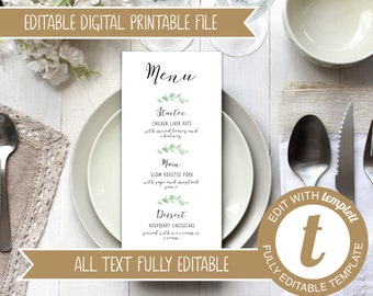 INSTANT DOWNLOAD - Editable Printable Wedding Menu Template with Eucalyptus Leaf Design