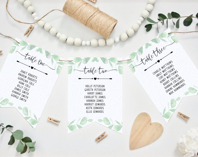Wedding Table Plan Bunting - Pennant Style - Eucalyptus Design