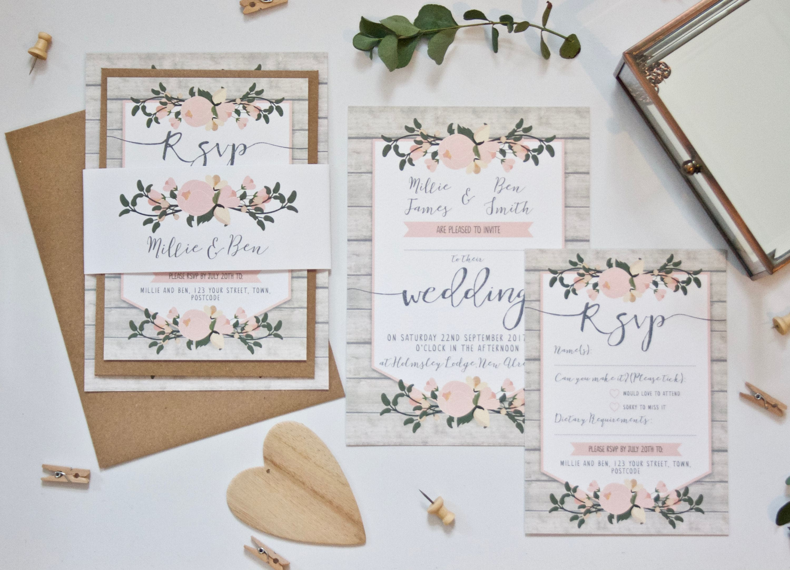 Rustic Wedding Invitation SAMPLE - Floral Wedding Stationery Bundle ...