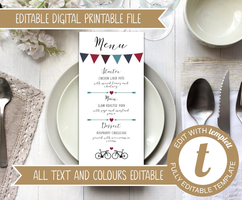 picture relating to Printable Wedding Menus named Quick Down load - Editable Printable Wedding day Menu
