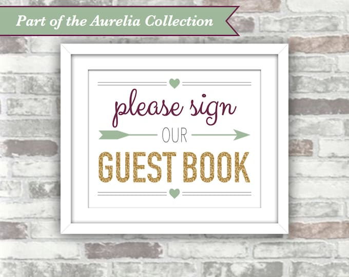 INSTANT DOWNLOAD - Aurelia Collection - Wedding Sign - Please Sign Our Guest Book - 8x10 Digital Files Gold Green Plum Autumn Fall Guestbook