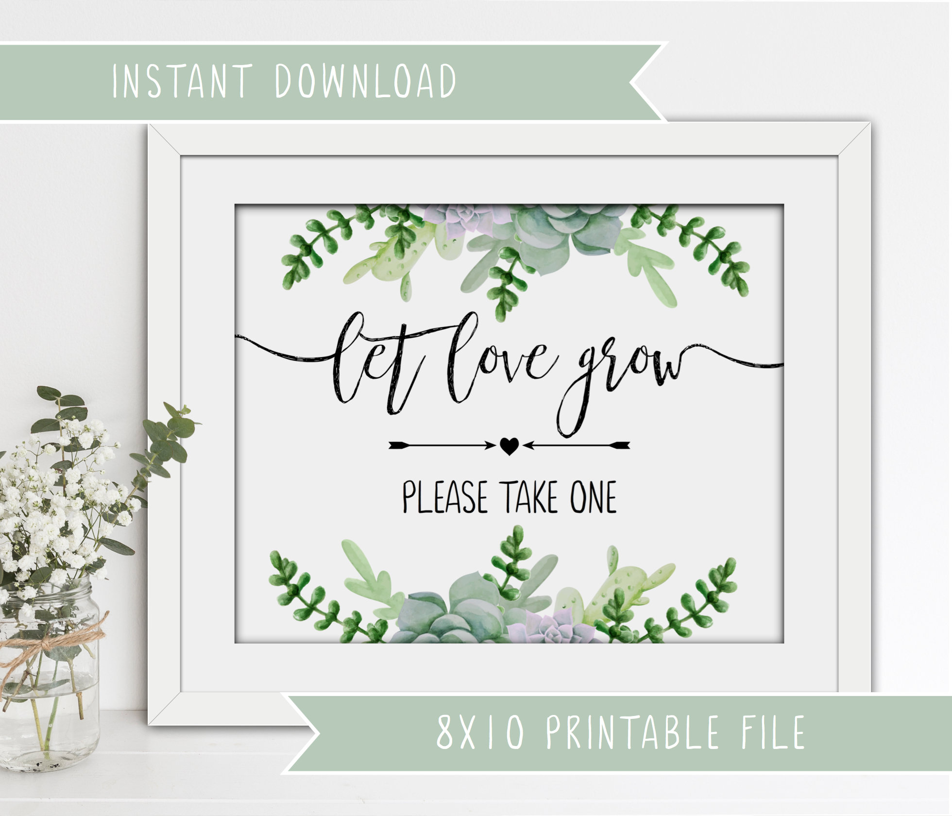 photograph regarding Free Printable Please Take One Sign titled Printable Wedding day Succulents Signal - Allow delight in mature