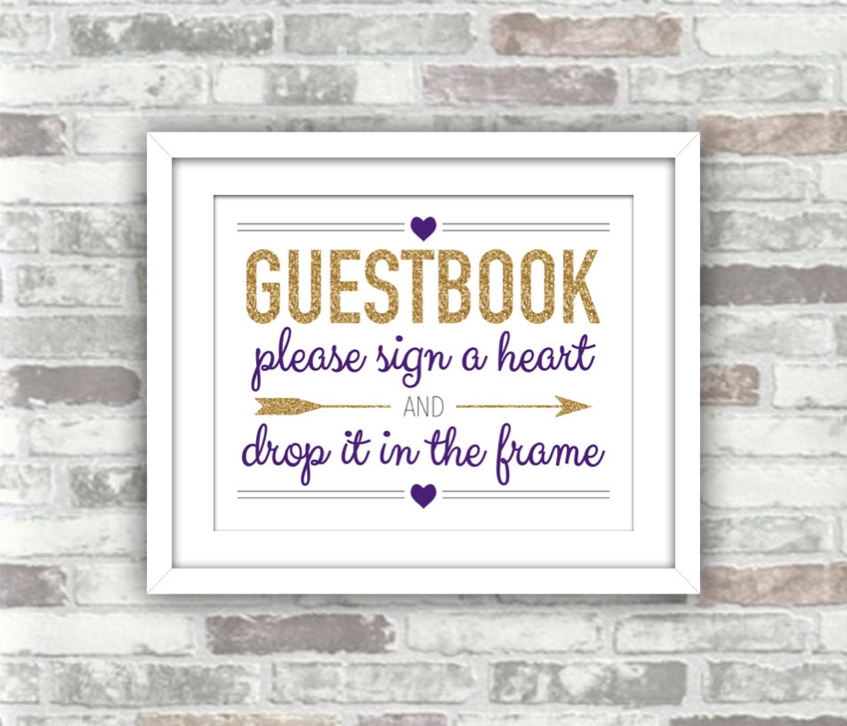 INSTANT DOWNLOAD - Printable Wedding Drop Top Heart Guestbook Frame ...