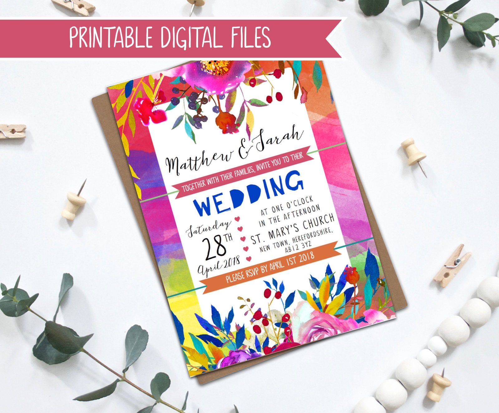 image about Wedding Stationery Printable known as PRINTABLE Wedding day Invitation - Vibrant Formidable Marriage ceremony