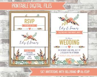 PRINTABLE Digital Files - Rustic Tribal Printable Wedding Invitation Bundle - Feathers, Foliage, Flowers Peach, Green, Navy Wedding Invites